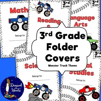 3rd Grade Folder Covers Monster Truck Theme