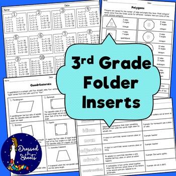 3rd Grade Folder Inserts