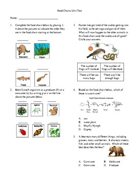 3rd Grade Food Chain Unit Test