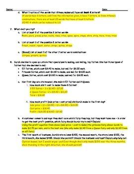 3rd Grade For Fun Half English, Half Math Worksheet with Key