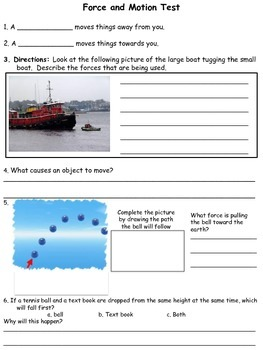 3rd Grade Forces and Motion Quiz and Test