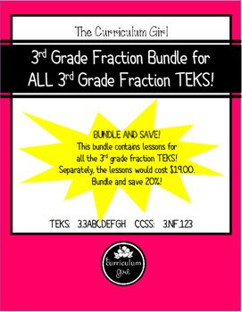 3rd Grade Fraction Bundle for ALL 3rd Grade Fraction TEKS!