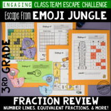 3rd Grade Fraction Review Escape Room Escape from Emoji Jungle