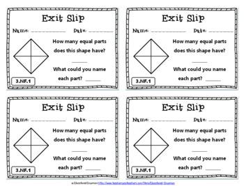 3rd Grade Fraction Exit Slips: Fraction Exit Slips 3rd Grade