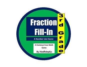3rd Grade Fraction Number Line Fill-In Game for Common Core