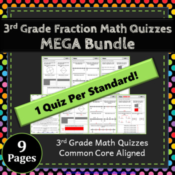 3rd Grade Fraction Quizzes: 3rd Grade Math Quizzes, Fractions (NF) Quizzes