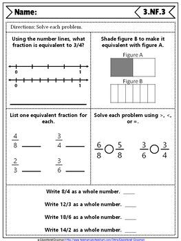 3rd Grade Fraction Quizzes: 3rd Grade Math Quizzes, Fractions (NF ...