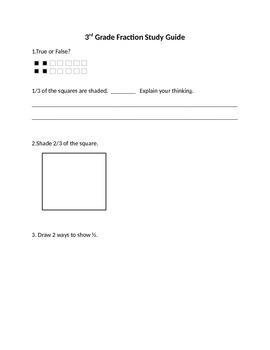 3rd Grade Fraction Study Guide