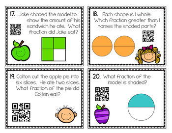 3rd Grade Fraction Task Cards: Includes QR Codes!