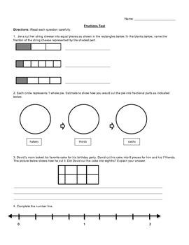 3rd Grade Fraction Test
