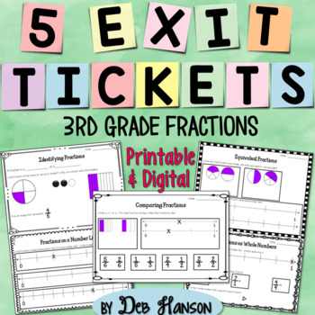 3rd Grade Fractions Exit Ticket Set {FREEBIE!}