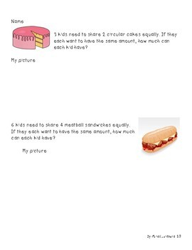 Fractions- Fair Sharing Story Problems 3rd Grade
