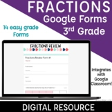 3rd Grade Fractions Google Forms Quiz | Spiral Review | Assessment