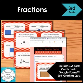 3rd Grade Fractions Math Task Cards