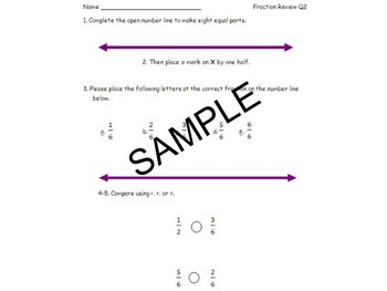 3rd Grade Fractions Quiz and Review with numberline and sets 3NF.A.1-3 &  3 GA.2