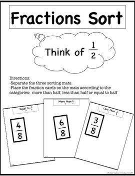 3rd Grade-Fractions Sort-Comparing with Benchmart 1/2