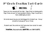 3rd Grade Fractions Task Card Sort