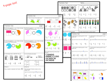 3rd Grade Fractions Test & Study Guide