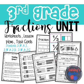 3rd Grade Fractions Unit Packet-GROWING (3.NF.A.1, 3.NF.A.3.D, 3.NF.A.3.C)