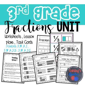 3rd Grade Fractions Unit Packet (3.NF.A.1, 3.NF.A.3.D, 3.NF.A.3.C)