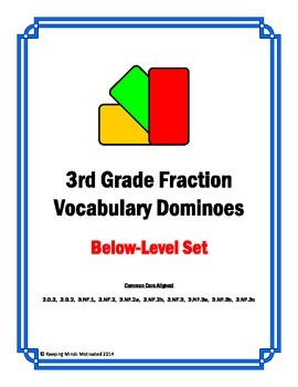 3rd Grade Fractions Vocabulary Dominoes (below-level)