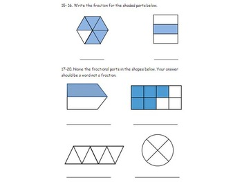 3rd Grade Fractions and Geometry Quiz and Review 3NF.A.1 3GA.1 3 GA.2