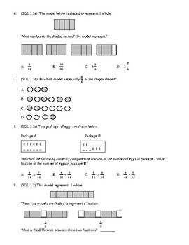 3rd Grade Fractions and Probability Unit Test