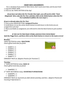 3rd Grade Front Row Assignment Checklist