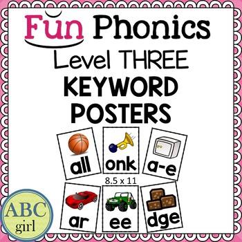 3rd Grade Fundationally FUN PHONICS Level 3 Keyword Alphabet Posters