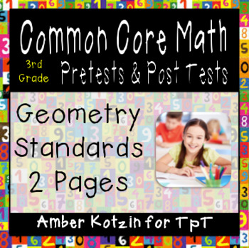 3rd Grade *GEOMETRY* Common Core Pre and Post Tests