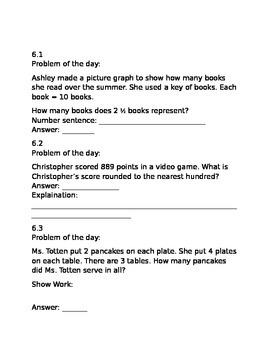 3rd Grade GO Math Ch 6 Problem of the day