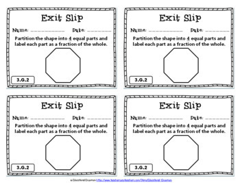 3rd Grade Geometry Exit Slips: Geometry Exit Slips 3rd Grade