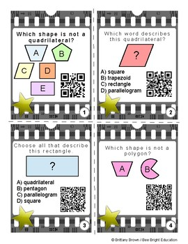 3rd Grade Geometry Math Center QR Code Task Cards TEK TEKS