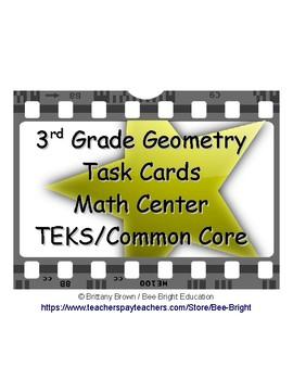 3rd Grade Geometry Math Center Task Cards TEK TEKS Star Theme
