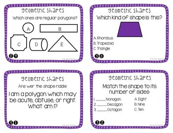 Geometry Task Cards for 3rd Grade