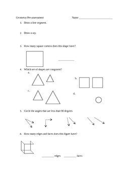 3rd Grade Geometry Pre-assessment
