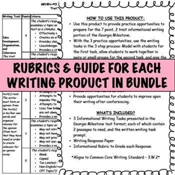 3rd Grade Georgia Milestone Opinion and Informational Writing BUNDLE