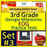 3rd Grade Georgia Milestones Test Prep EOG SELF-GRADING Tests GMAS Language Arts