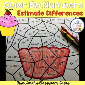 3rd Grade Go Math 1.8 Rounding to Estimate Differences Color By Numbers FREEBIE