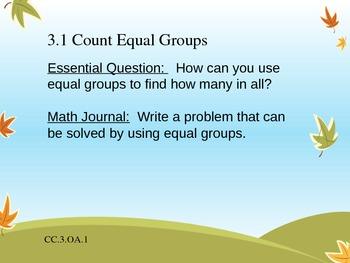 3rd Grade Go Math! Ch. 3 Essential Questions and Journal Prompts- Fall Theme