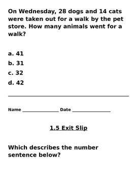 3rd Grade Go Math Chapters 1 & 2
