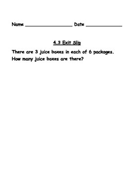 3rd Grade Go Math Chapters 4-7 Exit Slips