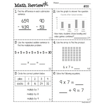 3rd Grade Go Math Review - Whole Year