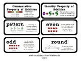 3rd Grade GoMath Chapter 1 Vocabulary Wall Cards
