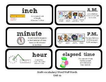 3rd Grade GoMath Chapter 10 Vocabulary Wall Cards