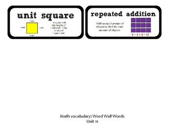 3rd Grade GoMath Chapter 11 Vocabulary Wall Cards