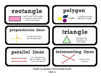 3rd Grade GoMath Chapter 12 Vocabulary Wall Cards
