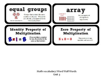 3rd Grade GoMath Chapter 3 Vocabulary Wall Cards