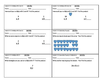 3rd Grade GoMath Chapter 4 Exit Slips