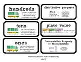 3rd Grade GoMath Chapter 5 Vocabulary Wall Cards